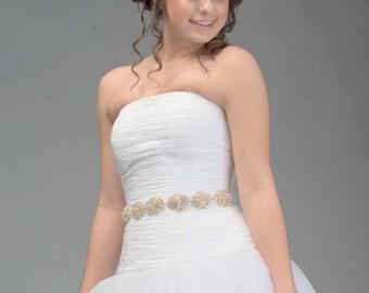Swarovski Crystal and Cubic Zirconia Bridal Sash - Swarovski Sash - Swarovski Belt - Bridal Belt - Bridal Sash - Wedding Bling - Victoria