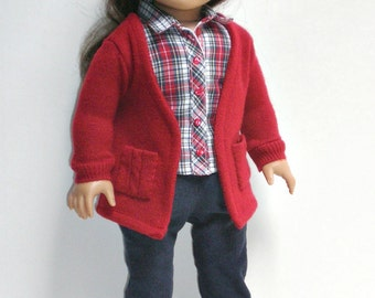 Boyfriend Sweater, Corduroy Skinny Jeans, Sleeveless Shirt 18 inch doll clothes