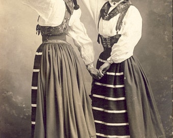 Two Young Women In TRADITIONAL SWEDISH DRESS Photo Postcard Circa 1910
