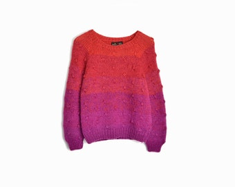 Vintage 90s Red Raspberry Ombre Sweater / Popcorn Knit Sweater - women's small