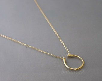 Dainty Horseshoe Necklace, minimalist necklace, gold or silver, good luck charm pendant, Everyday Jewelry, holidays gift, by balance9
