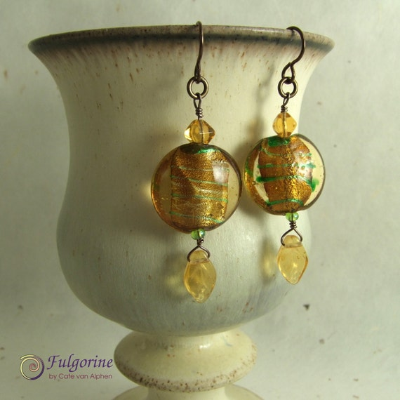 Amber and green glass bead earrings on hypo-allergenic bronze niobium ear-wires