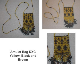Beaded Amulet Medicine Treasure Bag Pouch Necklace Seed Bead Jewelry Beads Fringe Miyuki Delica Brickstitched