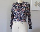 Cropped Floral Cardigan, Flower Top, Vintage Cardigan