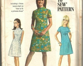 1960s A-Line Princess Seams Dress Sleeveless Short Sleeves Round Neck Stand Up Collar Simplicity 7459 Bust 38 Women's Vintage Sewing Pattern