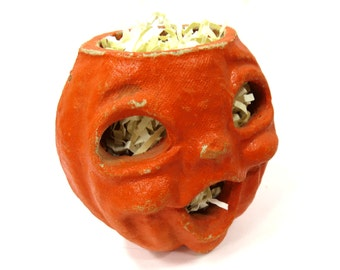 Double Face 1950's Halloween Jack-O-Lantern, Vintage Pulp Paper Mache, Face on Both Sides
