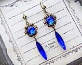 Deep Sapphire Victorian Earrings, Vintage Blue Glass Jewel Earrings in Antique Brass, Victorian Jewelry