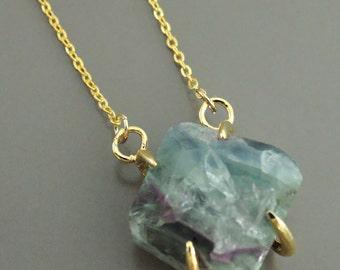 Aquamarine Fluorite Necklace - Raw Fluorite Necklace - Gemstone Necklace - Gold Necklace - Boho Necklace - handmade jewelry