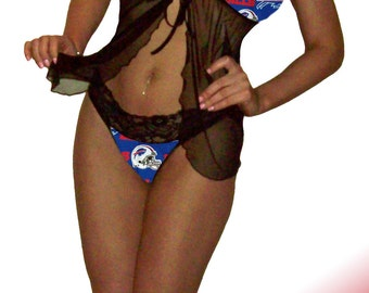 Buffalo Bills Lace Babydoll Negligee Lingerie Teddy Set - XS Extra Small to L Large - Please READ SIZING Info - Also in White