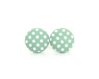 Small pastel green earrings - light green polka dots button earrings - fabric stud earrings