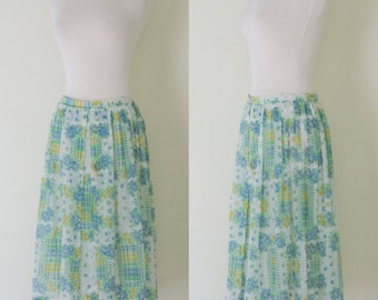 1960s blue and green floral skirt / vintage 60s handmade light and airy skirt sz. S