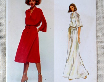 Vintage sewing pattern Vogue 1860 Renata caftan groovy muu muu Hippie shirt dress Bust 32.5 V neck loungewear hostess gown maxi dress