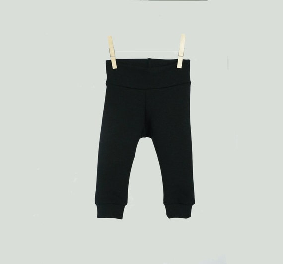 Bamboo baby leggings, black ultra soft baby pants, gender neutral baby clothes, ready to ship