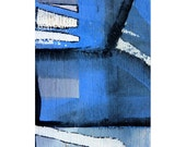 blue abstract art – wood painting, aceo original, blue miniature  -  wood wall art