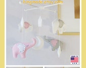 Baby Crib Mobile, Nursery Decor, Elephant Mobile, White Mobile, Starry Night Mobile, Gray White Pink, Custom Mobile