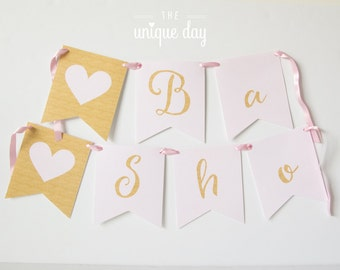 Baby Shower Banner - Printable Baby Shower Banner - Gold and Pink - Printable -DIY - Custom - Personalized// BS-10