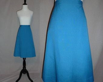 "60s Bright Blue Skirt - Lovely Spring Shade - Woven Cotton - Vintage 1960s - L 31"" waist"