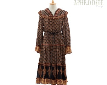 Vintage 70's Indian ETHNIC Block Print Ruffle Empire Waist Hippie Boho Tiered Midi DRESS