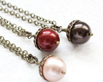 Pearl Acorn Necklace Red Acorn Pendant Rustic Brown Autumn Woodland Wedding Bridesmaids Gift Winter Christmas Jewelry Gift for Women
