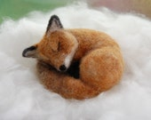Needle Felted Fox, Red Fox Felted, Foxes Forest Animal, Needle Felted Animals, Sleeping Fox Sculpture, Woodland Animals, Elisa Shine