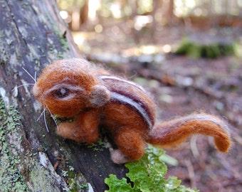 Needle Felted Chipmunk. Chipmunk Felted. Wool Felt Chipmunk. Baby Chipmunk Life Sized. Needle Felted Animals. Chipmunk Figurine. Chipmunks