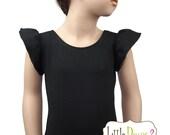 BLACK LEOTARD (Child) Flutter/Ruffle Sleeve Leotard