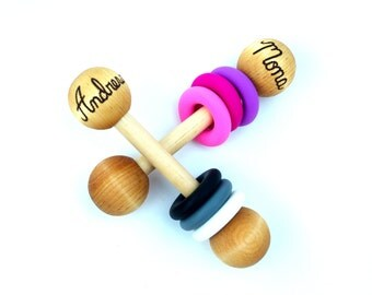 Wooden Baby Rattle Personalized Montessori Toy
