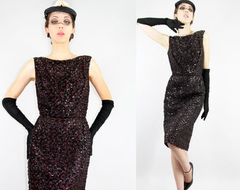 Glamorous 50s Sequin WIGGLE Cocktail Dress Hourglass LACE Marilyn Monroe // Vintage Clothes by TatiTati Style on Etsy
