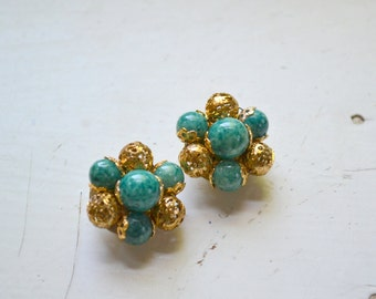 1960s Teal and Gold Bead Cluster Clip Earrings