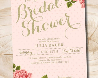 Gold and Floral Shabby Chic Bridal Shower Invitation - Printable digital file or printed invitations