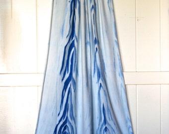 Scarf - Wrap - Hand Dyed - Shibori - Indigo Color  - Organic Cotton Soy Spandex Jersey