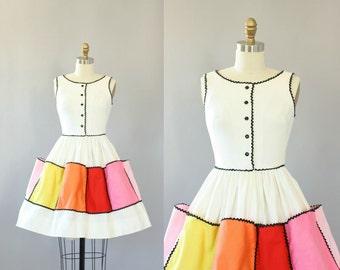 Vintage 60s Dress/ 1960s Cotton Dress/ White Cotton Piqué Dress w/ Colorful Square Pockets on Skirt S
