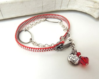 Double Wrap ZIPPER BRACELET  - red, silver -  for teens and adults - adjustable - eco-friendly/upcycled jewelry - under 30.00