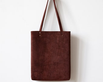Back To School SALE Simple Brown Suede Tote bag No.Tl- 601