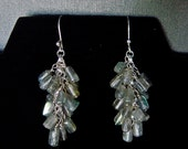 Gemstone Cluster Earrings, Labradorite Earrings, Gemstone Jewelry, Beaded Dangle Earings, Cluster Earring, Gift for Mom, Mothers Day Jewelry