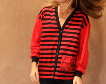 vintage striped CARDIGAN women's vintage 80s 90s oxford patch punk red and black sweatshirt