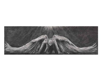 Untitled 3 (Angel) Charcoal-24 X 7.2 Fine Art Giclée Print on Paper