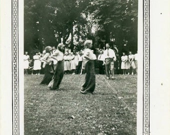 "Vintage Photo ""The Sack Race"" Girl Game Snapshot Photo Old Antique Photo Black & White Photograph Found Photo Paper Ephemera Vernacular - 89"
