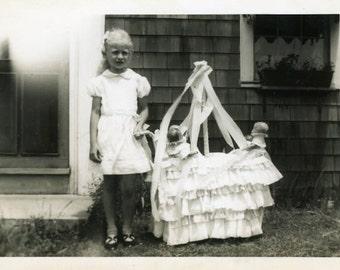 "Vintage Photo ""Playful Daycare"" Snapshot Photo Old Antique Photo Black & White Photography Found Photo Paper Ephemera Vernacular - 142"