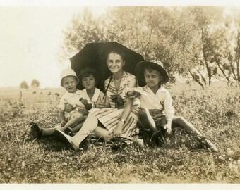 "Vintage Photo ""They Found Summer Shade"" Snapshot Photo Antique Photo Black & White Photography Found Photo Paper Ephemera Vernacular - 142"
