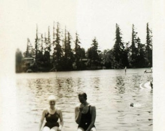 "Vintage Photo ""Amnesia Swimmers"" Snapshot Photo Old Antique Photo Black & White Photography Found Photo Paper Ephemera Vernacular - 142"