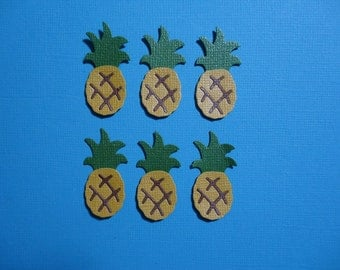 6 Small Pineapple Embellishment Die Cuts for Cards Scrapbooking and Paper Crafts