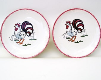 Vintage Rooster Plates Folk Art Rooster Wall Hanging  Small Hand Painted Plates Red White Black Set of 2