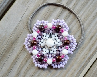 Lilac and Purple Flower, Natural Shell, Beaded Ponytail Holder, Boho Hair Accessories, Bead Hair Ties, Beaded Hair Band, Fashion Accessory