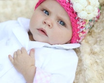 Unique Baby Gift - Baby Girl Gift - Baby Shower Gift - Bubble Gum Pink Hat - Hats for Kids