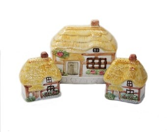 Cottage Ware Breakfast Set Butter Dish Salt and Pepper Shakers