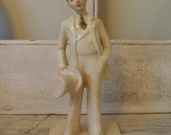 Vintage 1940s Groom Statue - Perfect for Retro Wedding Decor or Cake Table Decor