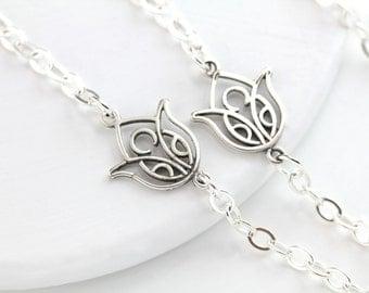Eyeglass Chain, Lanyard, Glasses Chain, Eyeglass Holder, Silver Eyeglass Chain, Lotus, Eyeglass necklace, Silver Lanyard, Lotus necklace,