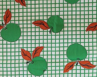 Vintage Green Apple Checkered Print Fabric