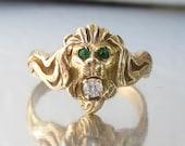 Antique ART NOUVEAU Lion Eating a Diamond Ring 10K Ring